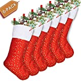 LimBridge Set of 6 Golden Star Christmas Stockings 18-Inch Red