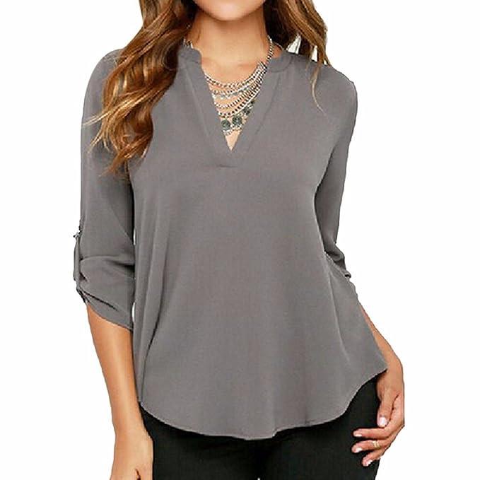 Frauen Mit V-Ausschnitt Bluse T-Shirt Ol Spitzen Beilaeufige Lange Huelse  Chiffon S