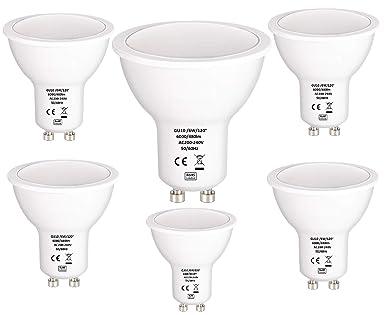 6 bombillas LED GU10 de 6 W, de Tech Traders, blanco frío (6000 K), blanco cálido ...