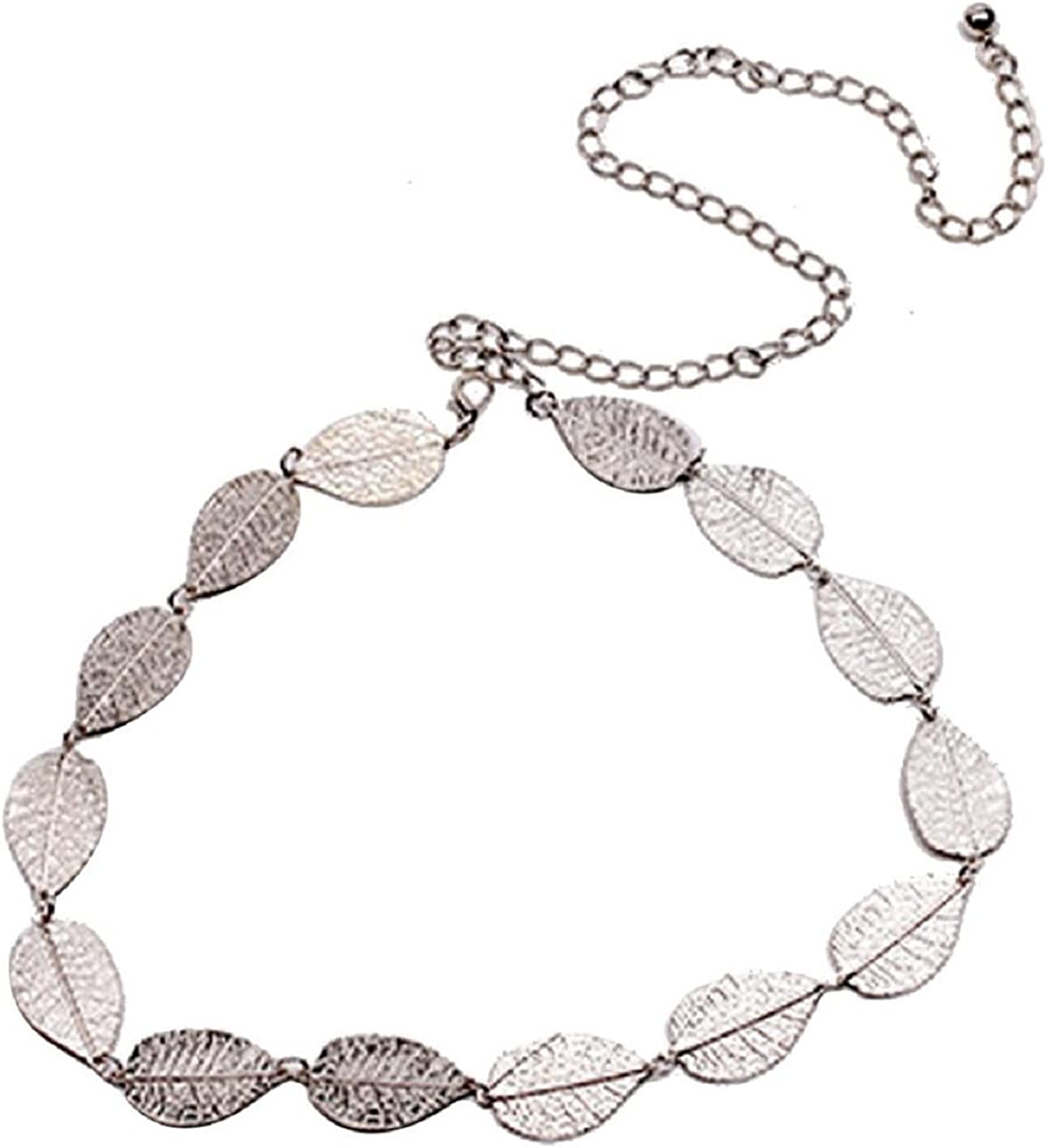TONSEE Womens Lady Fashion Metal Leaves Chain Belt Chain