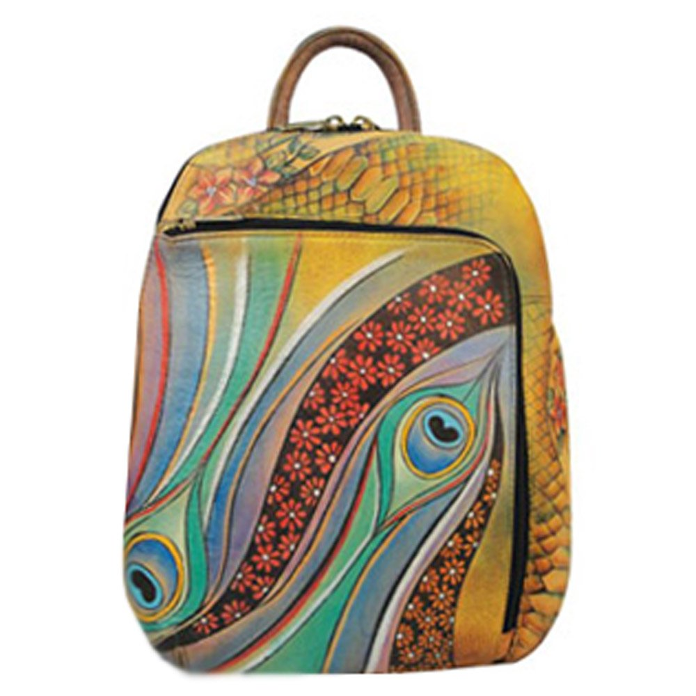 Anuschka Hand Painted Genuine Leather Sling Over Travel Backpack (Dancing Peacock) by ANUSCHKA