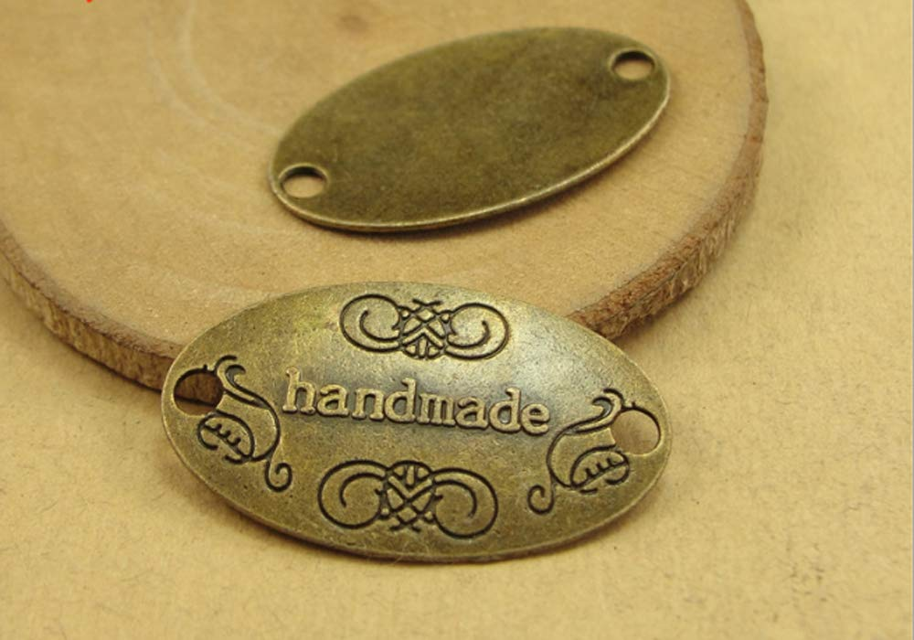 Sewing Clothing Decoration and More Antique Bronze EvaGO 60 Pieces Metal Handmade Tag Label Handmade Tags Button with 2 Holes Metal Tag Signs for Jewelry Making Crafts