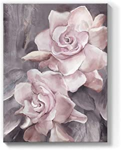lamplig Flowers Canvas Wall Art Floral Prints Pink and Gray Rose Pictures Modern Paintings Romantic Artwork for Bedroom Bathroom Office Living Room Home Room Wall Decor 12x16 Inch