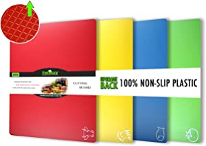 Cutting Board Mats Flexible Plastic Colored Mats With Food Icons, Fotouzy BPA-Free, Non-Porous, Upgrade 100% Anti-skid back and Dishwasher Safe, Set of 4