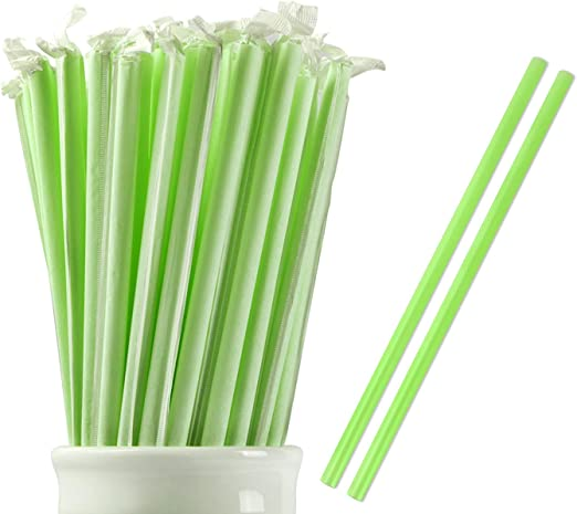 25 BIODEGRADABLE PLA INDIVIDUALLY WRAPPED DRINKING STRAWS FOR SMOOTHIES /& SHAKES