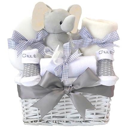 My First Teddy - Cesta para bebé unisex o gris con elefante, ideal ...