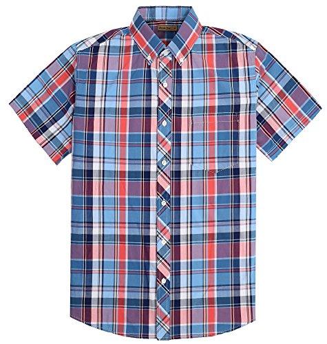 Coevals Club Men's 100% Cotton Plaid Short Sleeve Casual Button Down Shirt (#9 Red Blue, L)