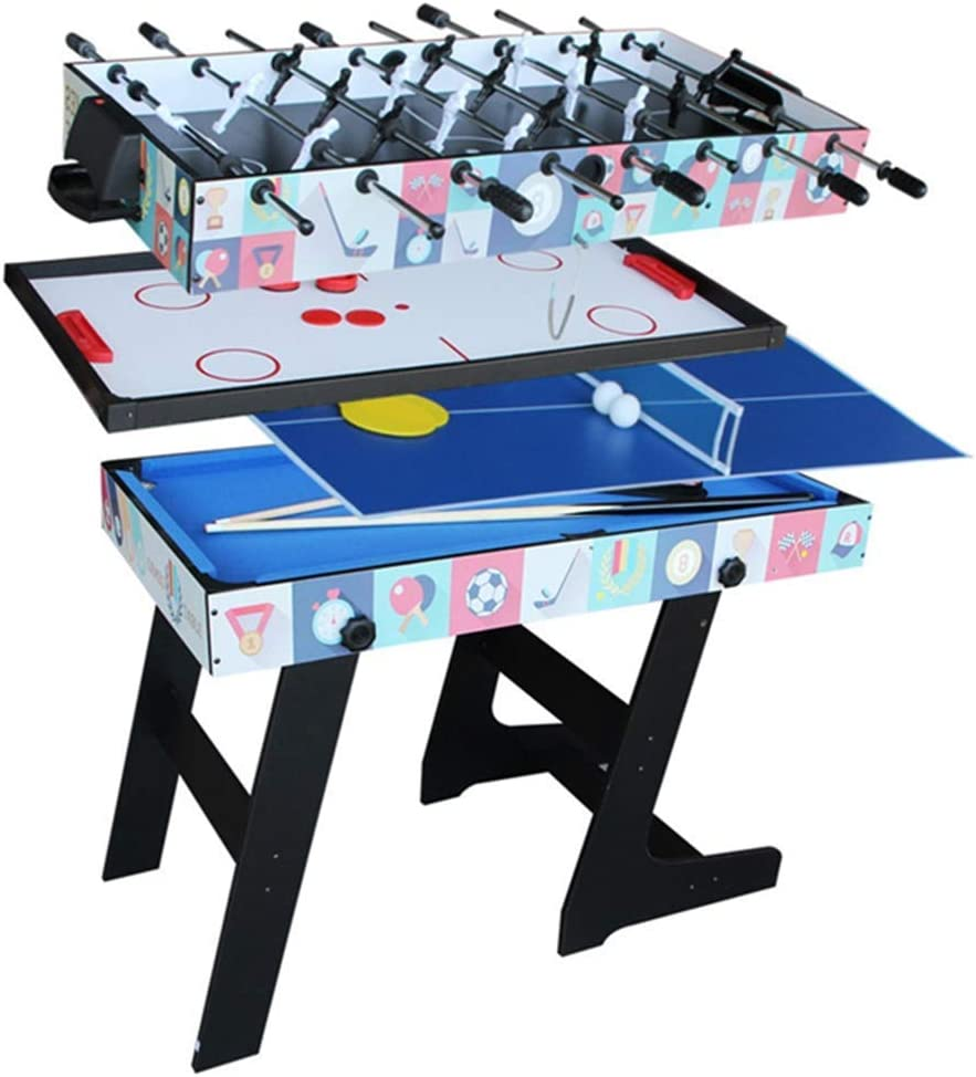WJSWHW Mesa de Juego Plegable 4 en 1, Mesa de Juego multifunción, Tenis de Mesa Combinado (Ping Pong), Hockey de Deslizamiento, futbolín, Juego de Billar para niños y niños a: Amazon.es: Deportes