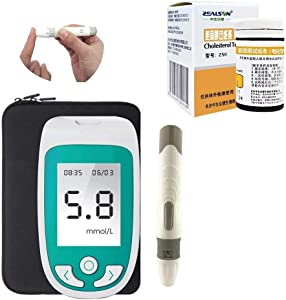 3 in 1 Cholesterol Test Meter, Blood Glucose Uric Acid Analyzer Monitor Device Detector Household with Test Strips (Color : Tester+10 PCS Chol Strips)