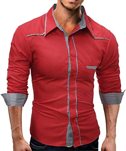 Camisa negra para hombre Slim Fit Top Casual Checked Plaid ...