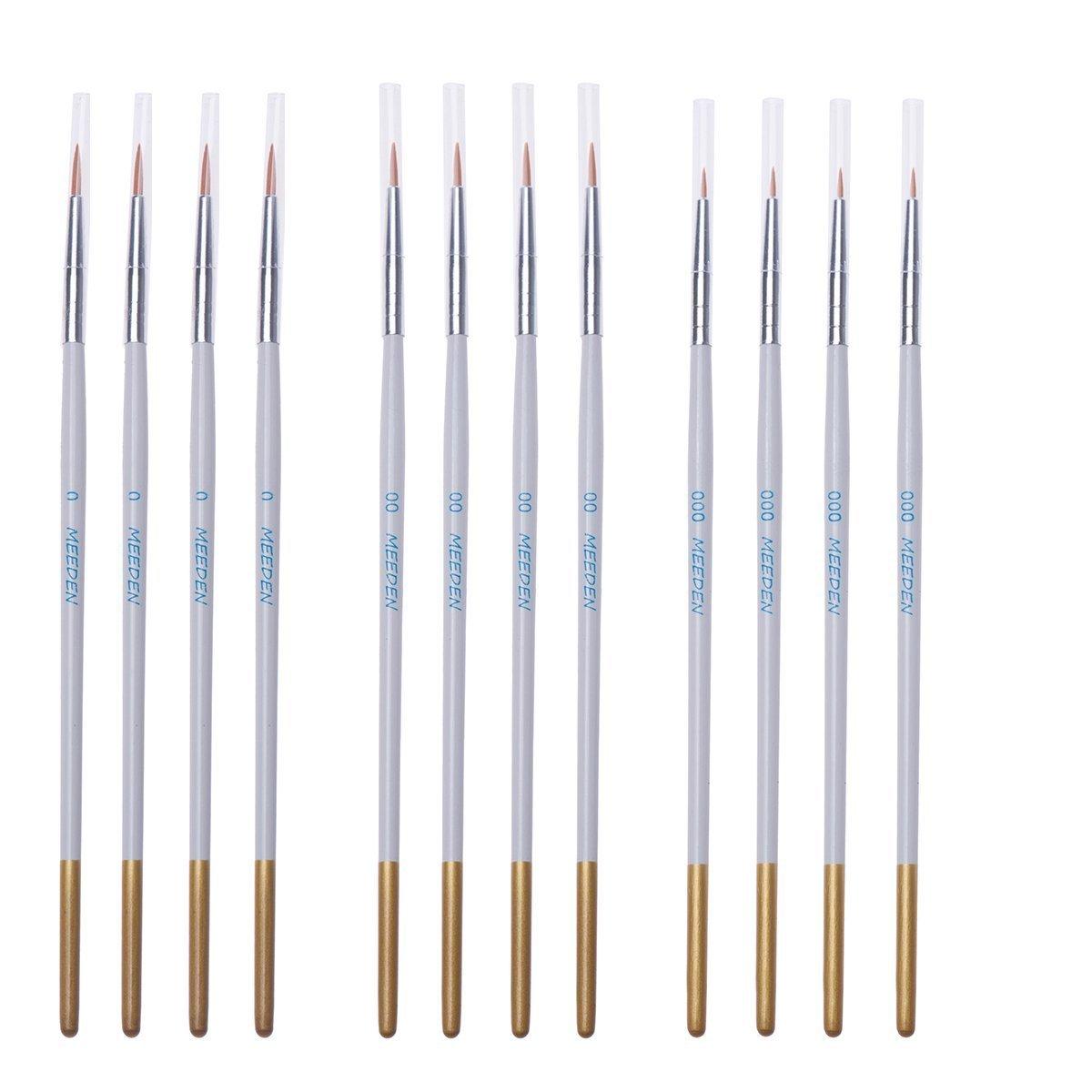 Nail Models Miniatures Watercolor Nylon Hair Acrylic Oil 6 Miniature Art Brushes for Fine Detailing /& Art Painting Airplane Kits MEEDEN Detail Paint Brush Set