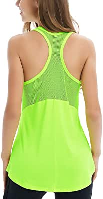 Fihapyli Women's Sleeveless Sport Workout Tank Tops Mesh Stitching Breathable Exercise Active Top