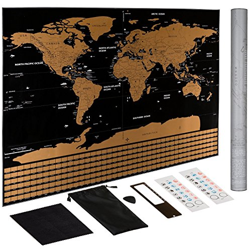 Scratch Off World Map Poster – US States Outlined, Travel Scratch Off Map of the World, Perfect Travel Gift by Jungle Merchant