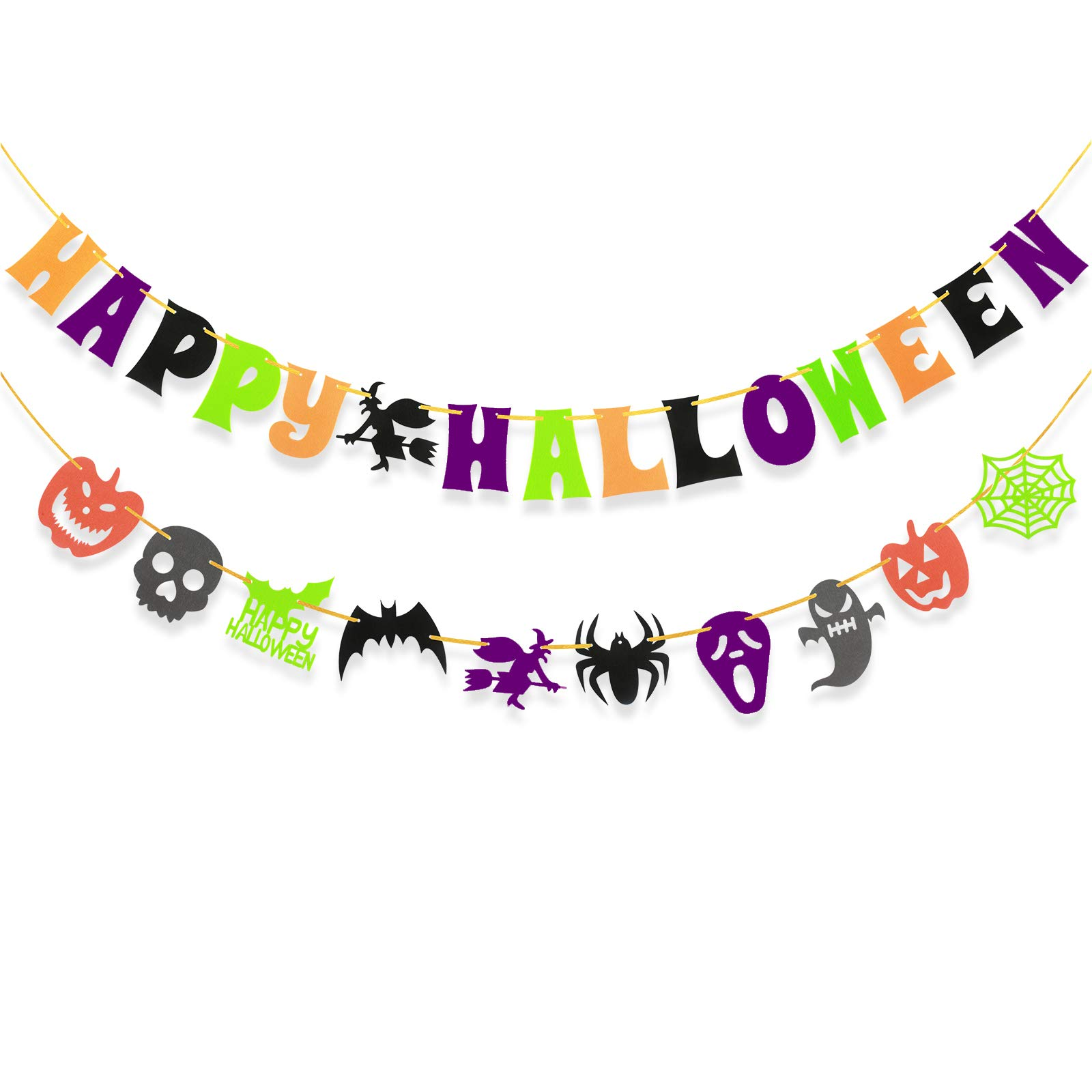 Happy Halloween Letter Banner Bunting Colourful Flags with Bat Pumpkin Ghost Spider Switch Skull Garland,Halloween Party Decoration Kit