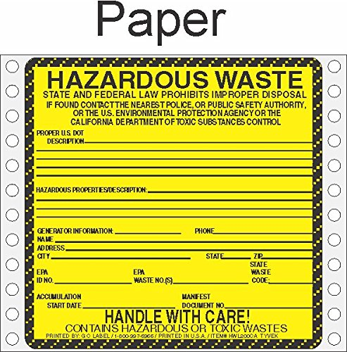 GC Labels-HWL200CAP, Hazardous Waste California Paper Labels HWL200CAP, Package of 500 fan-folded labels by GC Labels