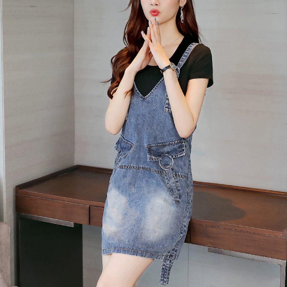Meiyiu Women Stylish Denim Skirt Shoulder Strap Suspender Skirt Casual Daily Wear Outfits Gift Denim Blue (Single Skirt) XXL by Meiyiu (Image #7)