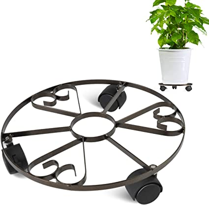 Plant Caddy Metal Plant Stand with Lockable Rolling Wheels 100lbs Strong 12inch