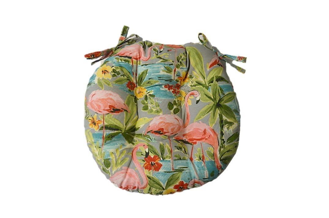 Indoor Outdoor Round Tufted Bistro Cushion with Ties – Waverly Elegant Tropical Platinum Flamingo – Grey, Aqua, Green, Coral 18