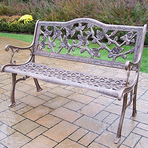 - Oakland Living Corporation English Rose Cast Aluminum Bench