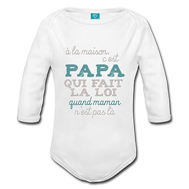 Spreadshirt Papa Fait La Loi À La Maison Body bébé Bio Manches Longues   Amazon.fr  Vêtements et accessoires b7ff0ccd9b7