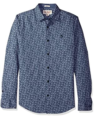 Men's Long Sleeve Floral Printed Shirt