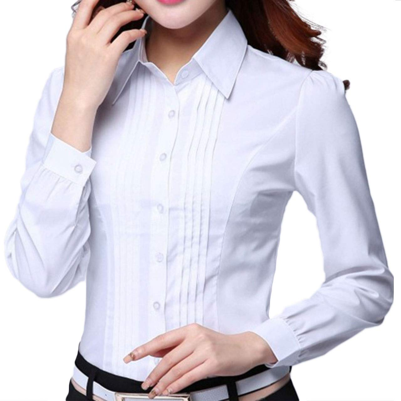 Ptkey Womens Dress Shirts Long Sleeve With Pleat Detail In White