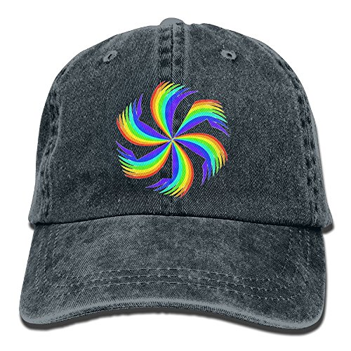 Arsmt Rainbow Pinwheel Denim Hat Adjustable Men Fitted Baseball - Pinwheel Cap Fitted
