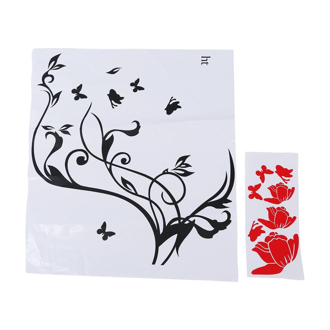 Pegatina Adhesivo vinilo decorativo pared Letras Flor Mariposa Rojo 60*55CM: Amazon.es: Hogar