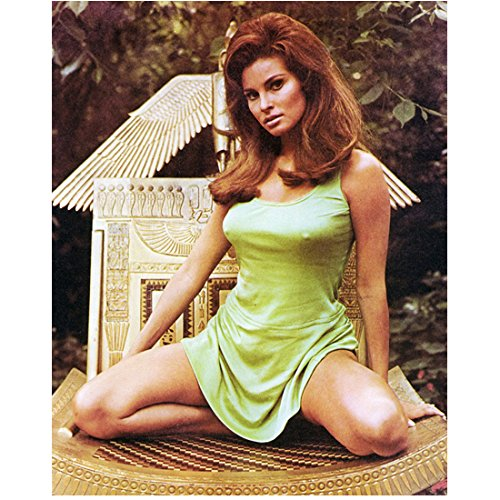 Raquel Welch 8x10 Photo One Million Years B.C. The Three Musketeers Legally Blonde Kneeling on Egyptian Gold Chair in Light Green Dress kn
