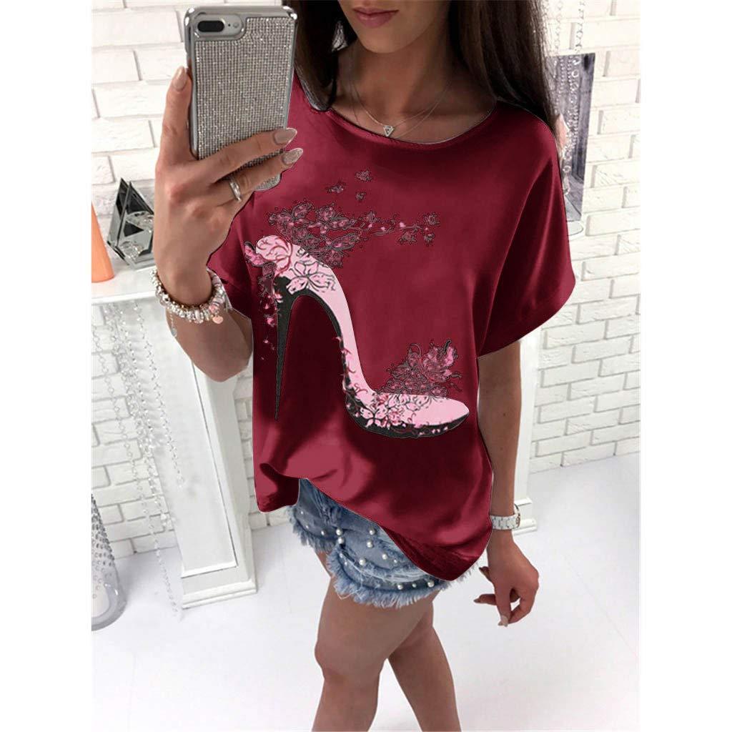 bedrucktes T-Shirt lockerer Rundhalsausschnitt Damen l/ässig T-Shirts kurz/ärmelig Strand mounter- Damen Sommerbluse Tops Tunika /Übergr/ö/ße