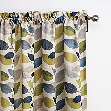25 Sizes Available Set of 1 panel 84 W x 102 L Grommet Top Contemporary Print Minimalist Multi Color Leaves Blackout Lining Window Treatment Draperies Curtains Panels