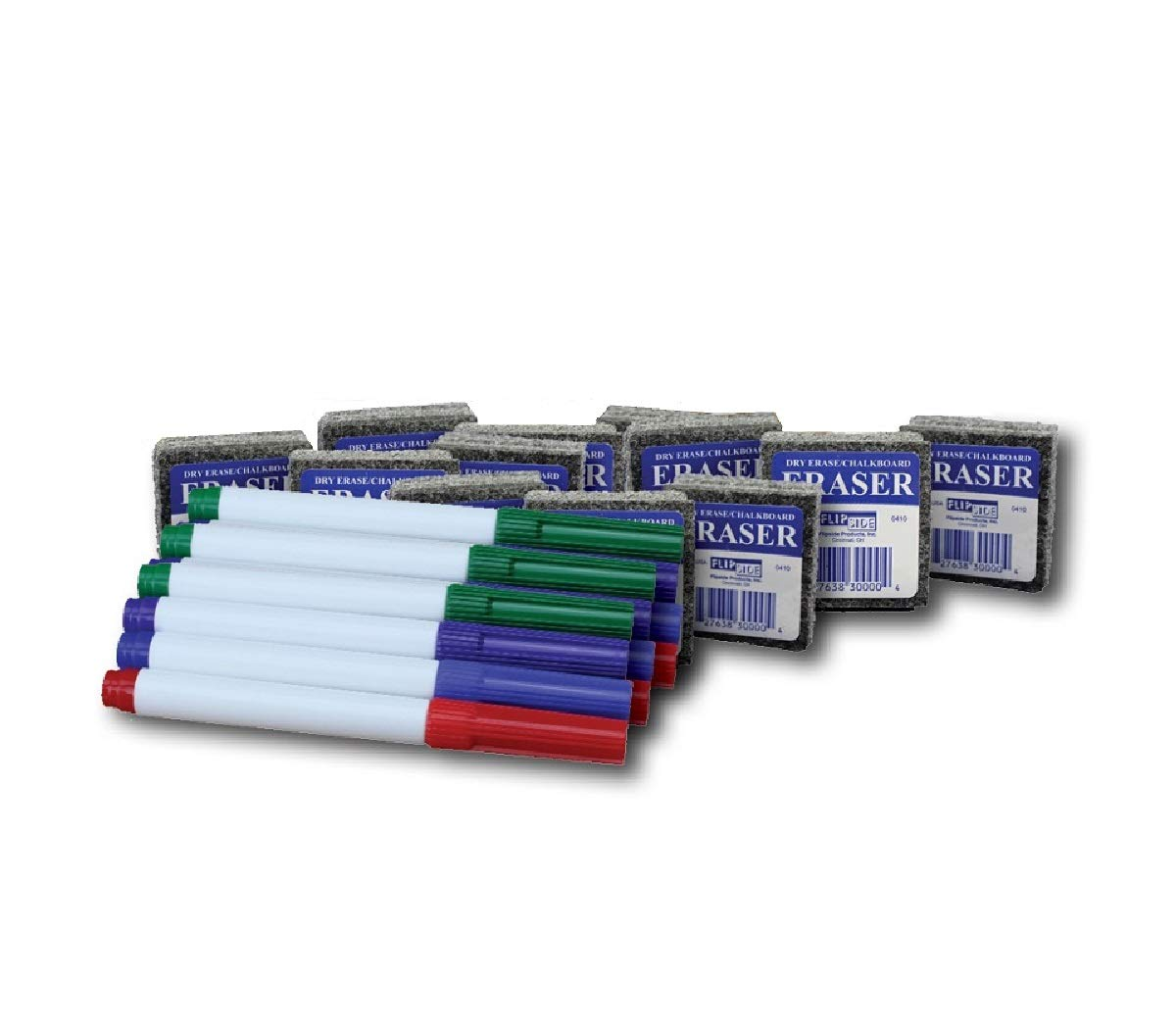 Pack of 12 Student Erasers and 12 Colored Pens by Flipside (Image #1)