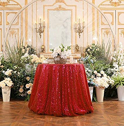 4d889c8d2f19 Amazon.com  B-COOL 72   Round Red Sequin Tablecloth
