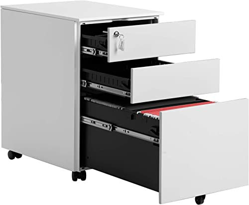 3 Drawer Mobile File Cabinet Mobile Metal Cabinet with Drawers with Lock Under Desk Fully Assembled Except for 5 Casters White