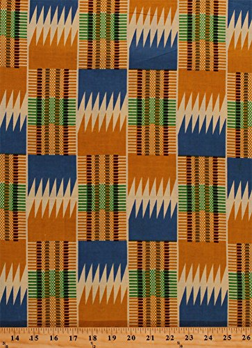 Cotton African Designs Tribal Geometric Rectangles Patch Squares Zigzags Stripes Checkers Tan Blue Green Handprint-Look Africa Cotton Fabric Print by the Yard (6250L-12K-Tan)