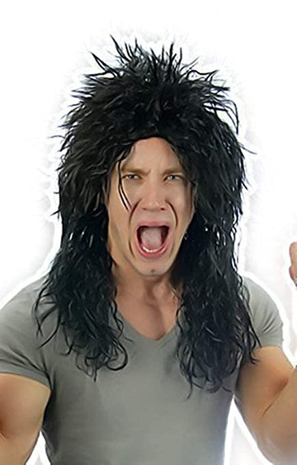Mens Black 80s Alice Hard Rocker Heavy Metal Kiss Punk Wig ...