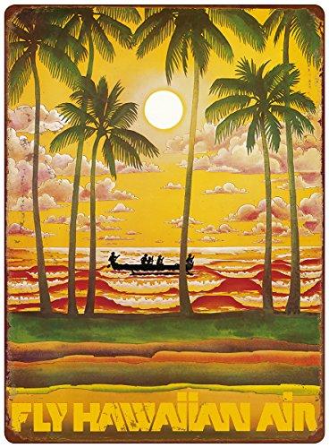 Hawaii Tin Sign (12in x 16in Vintage Hawaiian Tin Sign - Hawaii - Fly Hawaiian Air - Hawaiian Airlines)