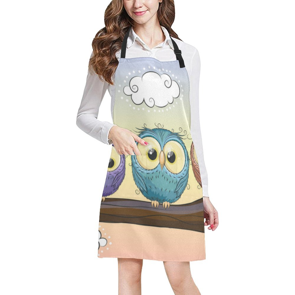 InterestPrint Lovely Owls Bib Apron With 2 Pockets Cooking Gardening Aprons For Women Men by InterestPrint (Image #2)