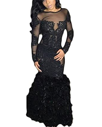 b9882a70350 Ri Yun Women s Sheer Long Sleeve Prom Dresses Black 2019 Mermaid Feather  Backless Formal Evening Ball Gowns at Amazon Women s Clothing store
