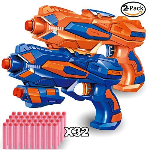 EXSPORT 2 Pack Blaster Guns with Dart Wristers Kit and 36 PCS Soft EVA Bomb for Kids Hand Gun Toy Blaster (Blaster Gun)
