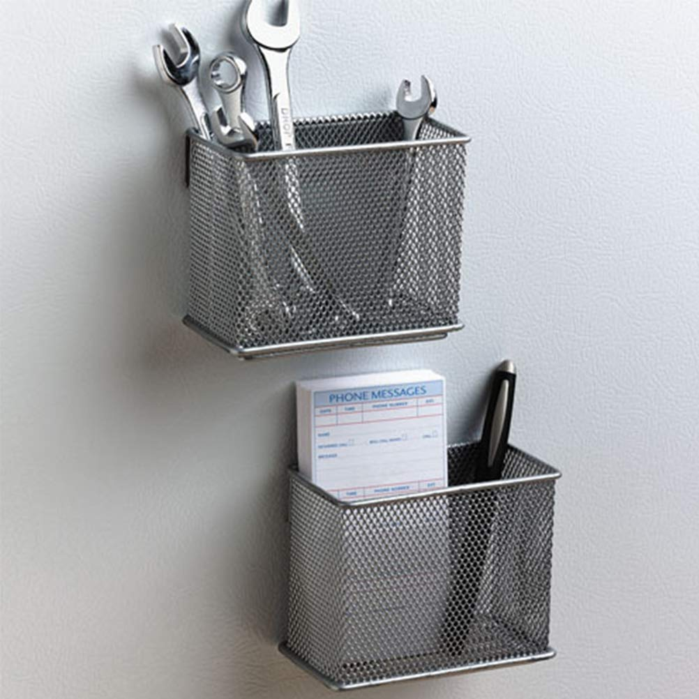 TOPABTHY 3pcs Multifunction Magnetic Memo Holder Iron Mesh Pencil Holder for Home Organization Small