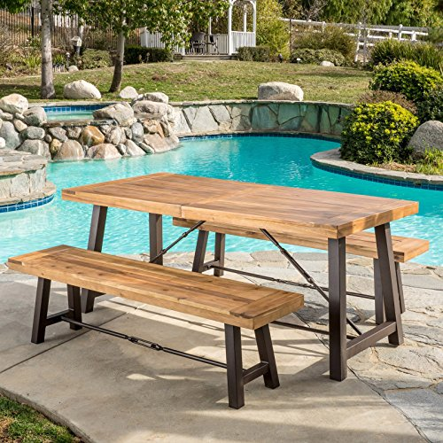 Cheap  Wood 3 Piece Square Patio Dining Set, Sturdy Iron & Acacia Wood..