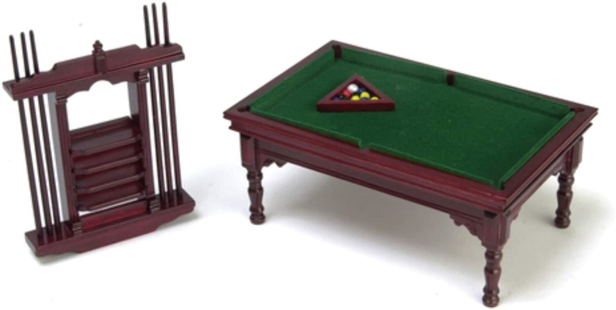 Amazon.es: Mesa de Billar de Madera de Caoba en Miniatura Set para ...