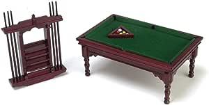 Amazon.es: Town Square Miniatures Muebles para Casa de Muñecas 1:12 Escala Caoba Billar Juego Mesa: Juguetes y juegos