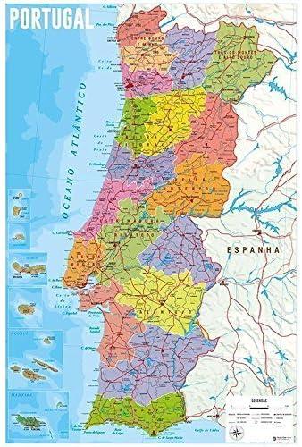 Grupo Erik Editores Poster Mapa Portugal Fisico Politico: Amazon.es: Oficina y papelería
