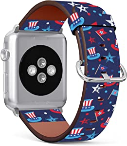 Replacement Leather Strap Printing Wristbands Compatible with Apple Watch Series 5/4 / 3/2 / 1 (38mm / 40mm) - 4Th of July Seamless Pattern with Hats and Flags