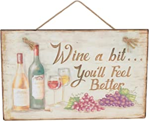 Beachcombers Wine a Bit You'll Feel Better Wall Vintage Plaque Sign Wall Décor Decoration Multi