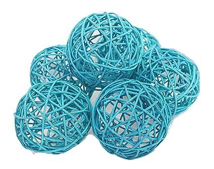 Amazon Decorative Spheres Blue Rattan Vase Filler Ornament