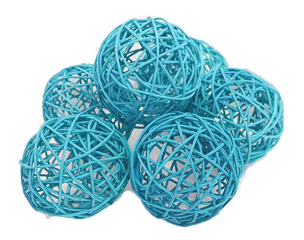 Decorative Spheres Blue Rattan Vase Filler Ornament Decoration Bowl Filler Kamboi Balls Hand Packed By Wreaths For Door 8 CM - 3.5 inch