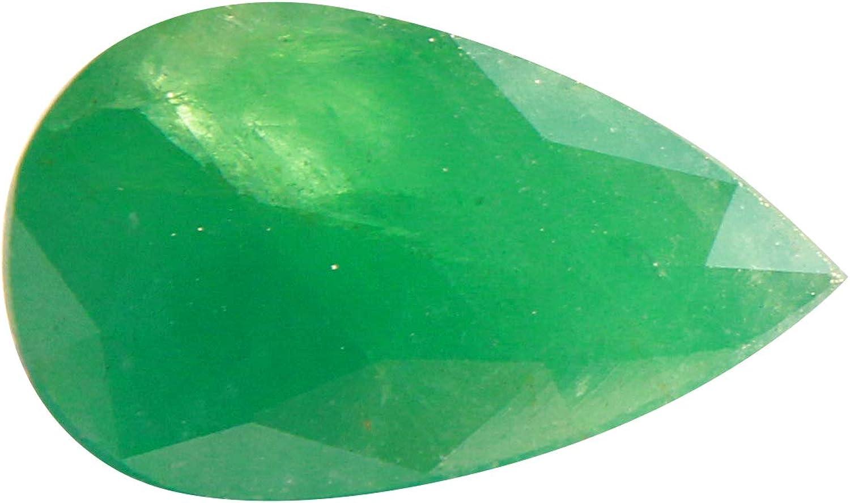 Jaipur Gems Mart 5,35 Quilates en Forma de pera Natural de Zambia facetada Verde Esmeralda Cabochan Pieza para Hacer la joyería, Pendiente de la Esmeralda, Curación Gema, Piedra astrológico